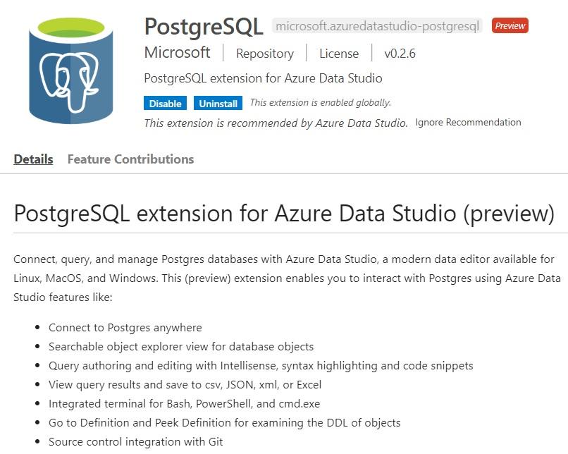 Расширение для работы с PostgreSQL